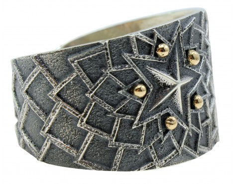 Kevin Yazzie, Bracelet, Tufa Cast, Sterling Silver, 14K Gold, Navajo Made, 6.5in