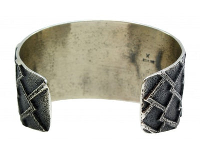 Load image into Gallery viewer, Kevin Yazzie, Bracelet, Tufa Cast, Sterling Silver, 14K Gold, Navajo Made, 6.5in
