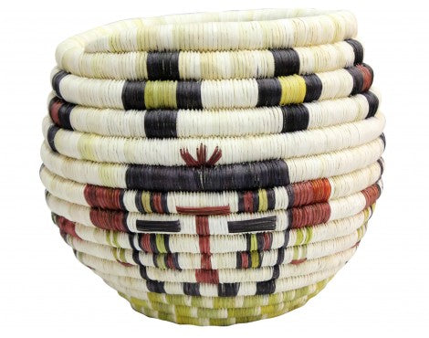 Alicia Adams, Hopi Coil, Kachina Faces Basket, 8 1/4