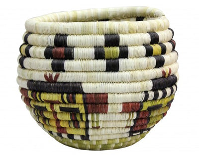"Load image into Gallery viewer, Alicia Adams, Hopi Coil, Kachina Faces Basket, 8 1/4"" x 7"""