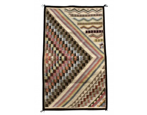 Sadie Charlie, Pastel Three in One Rug, Navajo Handwoven, 26 in x 44 in