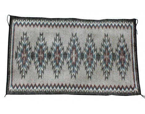 Mary Begay, New Lands Rug, Rasid Outline, Navajo Handwove, 23 in x 38.25 in