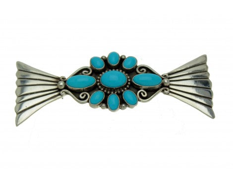 Lee Charley, Kingman Turquoise, Cluster Pin, Sterling Silver, Signed, Navajo