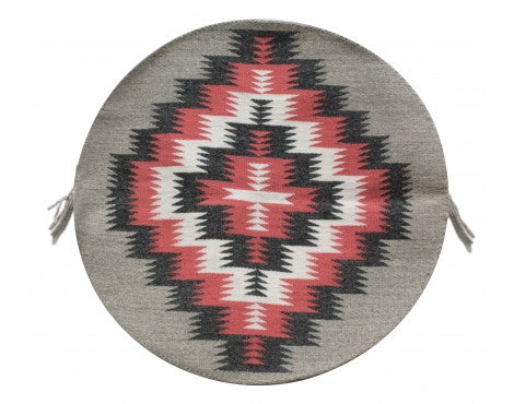 Rose Gorman, Circular Eye Dazzler Rug, Navajo Handwoven, 22 in