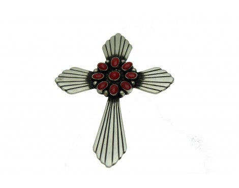 Lee Charley, Mediterranean Red Coral Cluster Cross, Pin, Pendant