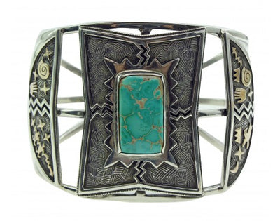Load image into Gallery viewer, Arland Ben, Bracelet, Carico Lake Turquoise, 14k Gold, Silver, Navajo Made, 7.25