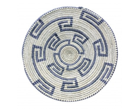 Anna Gray, Navajo Coiled Plaque, Maze Design, Handmade, 18 in Dia.