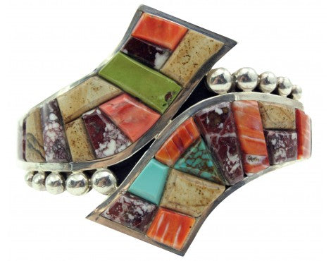 Melvin Francis, Eugene Chee, Bracelet, Multi Stone Inlay, Silver,Navajo Made,6.5