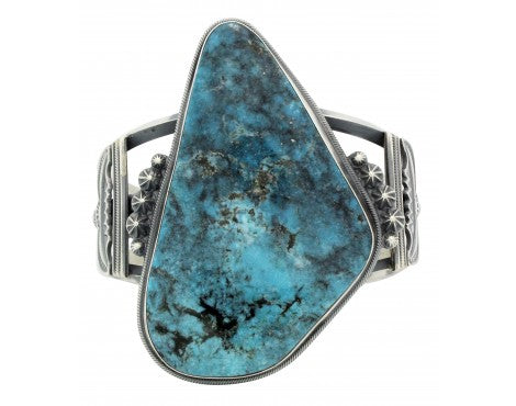 Freddie Maloney, Bracelet, Kingman Turquoise, Harry Morgan Style, Navajo, 6.75in