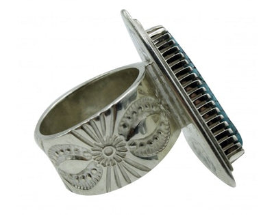 Load image into Gallery viewer, Jay Livingston, Ring, Indian Mountain Turqouise, Sterling Silver, Navajo, 7