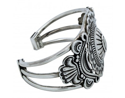Load image into Gallery viewer, Stacey Gishal, Bracelet, Stamping, Sterling Silver, Navajo Handmade, 6.75 in