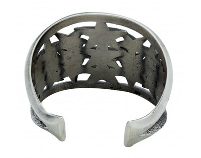 Load image into Gallery viewer, Aaron Anderson, Bracelet, Star Design, Sterling Silver, Navajo Handmade, 6.25 in