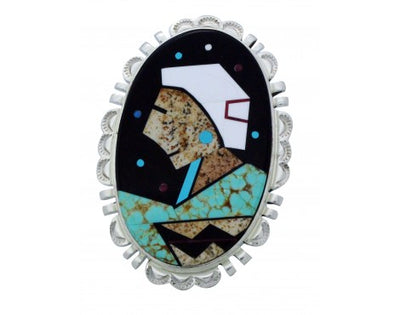 Load image into Gallery viewer, Calvin Desson, Ring, Navajo Grandma, Inlay, Sterling Silver, Navajo Handmade, 8