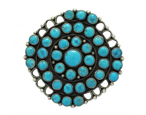 Calvin Martinez, Pin, Persian Turquoise, Sterling Silver, Navajo Handmade, 2.5in