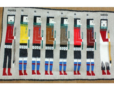 Load image into Gallery viewer, Anna Gray, Yei Rug, Navajo Handwoven, 48in x 35.5in