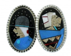 Calvin Desson, Earrings, Navajo Grandparents, Silver, Navajo Handmade, 1.5 in