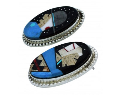 Load image into Gallery viewer, Calvin Desson, Earrings, Navajo Grandparents, Silver, Navajo Handmade, 1.5 in