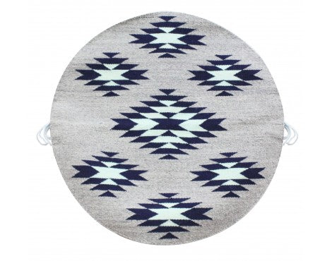 Rose Gorman, Circular Eye Dazzler Rug, Blue, Grey, Navajo Handwoven, 22 in