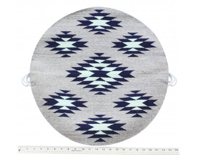 Load image into Gallery viewer, Rose Gorman, Circular Eye Dazzler Rug, Blue, Grey, Navajo Handwoven, 22 in