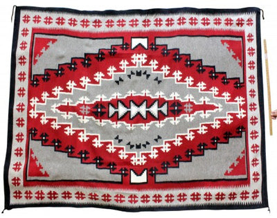 "Load image into Gallery viewer, Mary Lou Bee, Ganado Red, Navajo Handwoven, 105"" x 74"""