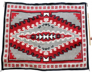 "Mary Lou Bee, Ganado Red, Navajo Handwoven, 105"" x 74"""