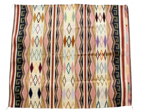 Susie Smallcanyon, Colorful Wide Ruins, Navajo Handwoven Rug, 61