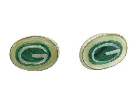 Bobby Concho, Pierced Earrings, Green Bay Packers, Inlay, Silver, Zuni Made, .75