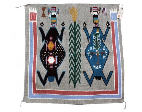 Winnie Yazzie, Mother Earth, Father Sky, Navajo Rug, Handwoven, 40 in x 39.5 in