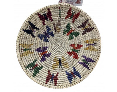 Load image into Gallery viewer, Anna Gray, Navajo Coiled Plaque, Butterflies, Handmade, 16 in Dia.