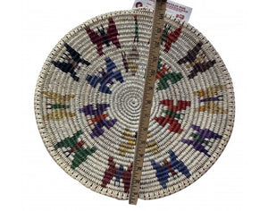 Anna Gray, Navajo Coiled Plaque, Butterflies, Handmade, 16 in Dia.