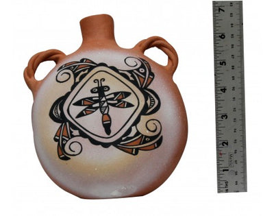 Load image into Gallery viewer, Zuni Painted Pottery Canteen, Signed, MPC, Handmade, 7.5 in x 3.4 in x 6 in