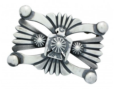 Load image into Gallery viewer, Delbert Gordon, Buckle, Eagle, Sterling Silver, Old Style, Navajo Handmade, 1.25