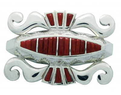 Load image into Gallery viewer, Michael Perry, Buckle, Mediterranean Coral, Silver, Navajo Handmade, 1.25 in