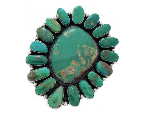 Andy Cadman, Ring, Royston Turquoise, Cluster, Sterling Silver, Navajo Made, 7.5
