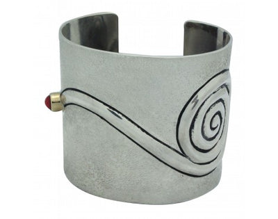 Load image into Gallery viewer, Edison Cummings, Tufa Cuff, Mediterranean Coral, 14k Gold, Navajo Handmade, 6 3/4