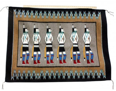 Load image into Gallery viewer, Anna Gray, Yei Rug, Navajo Handwoven, 47.5 in x 35 in
