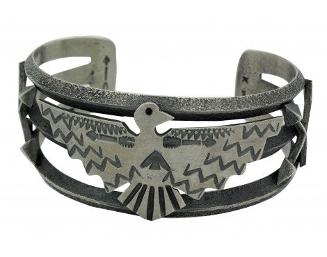 Kevin Yazzie, Bracelet, Eagle, Arrows, Sterling Silver, Navajo Handmade, 7 in