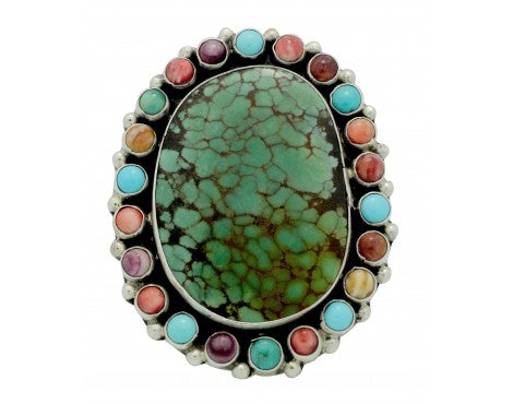 Vernon, Clarissa Hale, Ring, Turquoise, Shell, Silver, Navajo Made, Adjustable