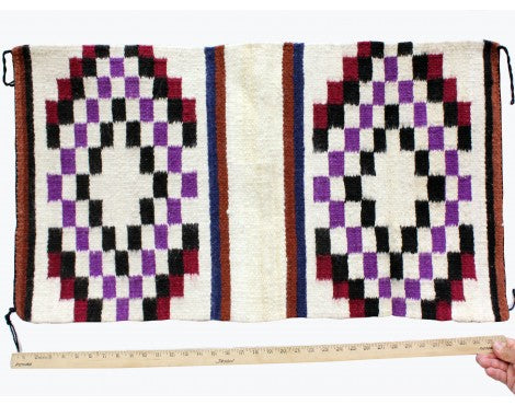 Gallup Throw Rug, Navajo Wool Cotton, Handwoven, 18