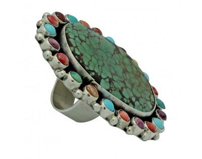 Load image into Gallery viewer, Vernon, Clarissa Hale, Ring, Turquoise, Shell, Silver, Navajo Made, Adjustable