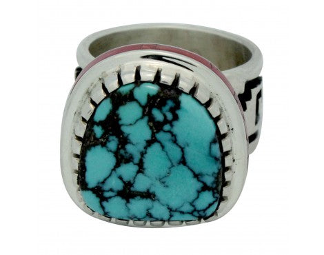 Michael Perry, Ring, Blue Ridge Turquoise, Mediterranean Coral, Navajo Made, 9.5