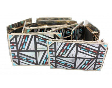Jonathan Othole, Concho Belt, 11 Pieces, Inlay, Turquoise, Coral, Shell, Zuni,48