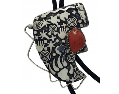 Load image into Gallery viewer, Alex Sanchez, Bolo, Mediterranean Coral, Rock Art, Sterling Silver, Navajo, 48in