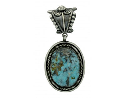 Load image into Gallery viewer, Leon Martinez, Pendant, Pilot Mountain Turquoise, Silver, Navajo Handmade, 3.1