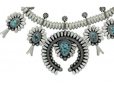 Load image into Gallery viewer, Thomas Jim, Necklace, Kingman Turquoise, Sterling Silver, Navajo Handmade, 23 in