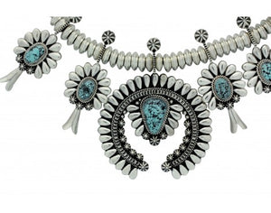 Thomas Jim, Necklace, Kingman Turquoise, Sterling Silver, Navajo Handmade, 23 in