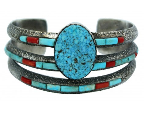 Lester James, Tufa Cast Bracelet, Kingman Turquoise, Inlay, Silver, Navajo, 7 in