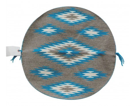 Rose Gorman, Circular Eye Dazzler Rug, Turquoise Blue, Navajo Handwoven, 22 in