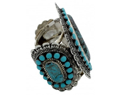 Load image into Gallery viewer, Larry Etcitty, Bracelet, Kingman Turquoise, Cluster, Navajo Handmade, 6.75 in
