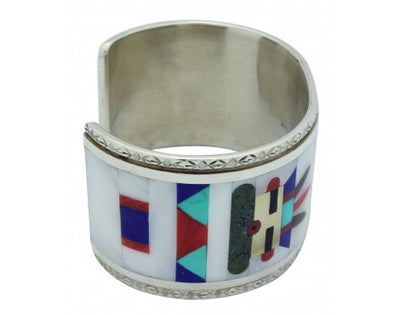 Load image into Gallery viewer, Nancy, Ruddell Laconsello, Bracelet, Kachina, Inlay, Silver, Zuni Handmade, 6.5